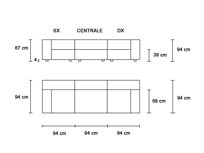 misure divano modulare ignifugo
