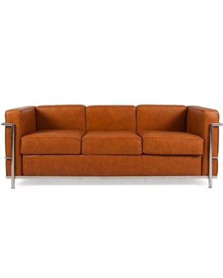 noleggio divano in pelle cognac vintage a 3 posti