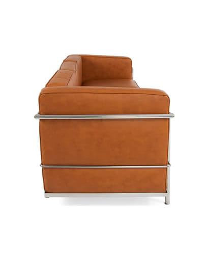 Noleggio divano in pelle cognac vintage grande - Punto Noleggio
