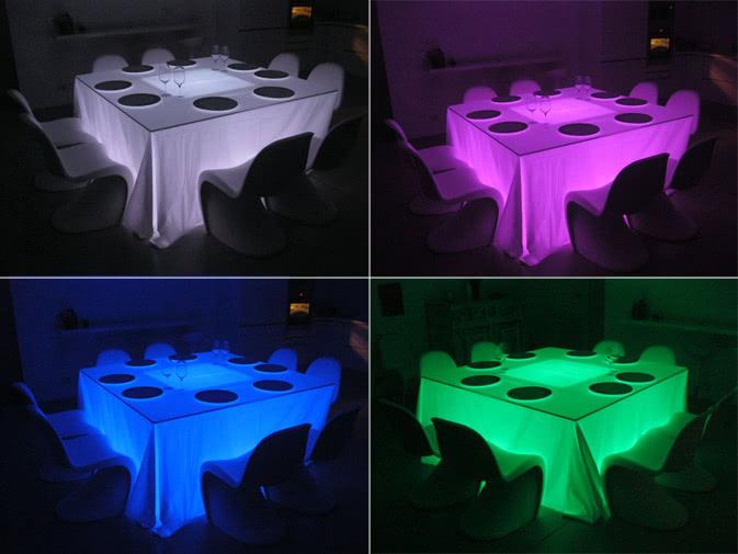 Tavoli Luminosi Da Esterno.Noleggio Tavolo Luminoso Con Piano Quadrato Punto Noleggio
